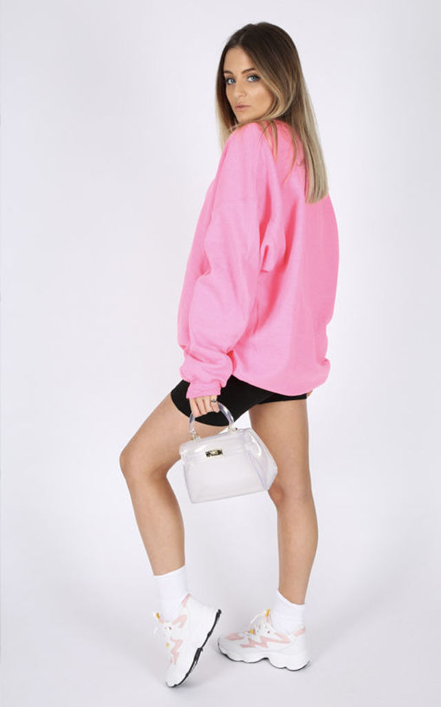 ULTIMATE BOYFRIEND SWEATER-NEON PINK Cosy Oversized Baggy Lounge Gym Long Sleeve Pullover Knitwear Jumper T-Shirt Tops by Pharaoh London