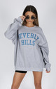 BEVERLY HILLS SLOGAN SWEATER- GREY Cosy Oversized Baggy Lounge Gym Long Sleeve Pullover Knitwear Jumper T-Shirt Tops by Pharaoh London