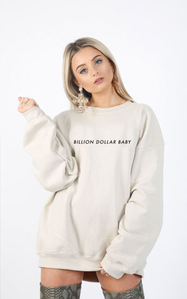 BILLION DOLLAR BABY SLOGAN SWEATER-NUDE Cosy Oversized Baggy Lounge Gym Long Sleeve Pullover Knitwear Jumper T-Shirt Tops by Pharaoh London
