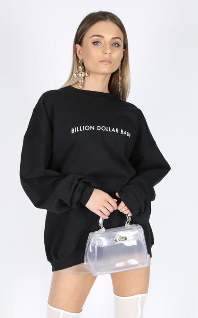 BILLION DOLLAR BABY SLOGAN SWEATER- BLACK Cosy Oversized Baggy Lounge Gym Long Sleeve Pullover Knitwear Jumper T-Shirt Tops by Pharaoh London