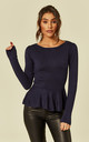 Jenni Peplum Frilled Long Sleeve Jumper in Navy Blue by Collectif Clothing