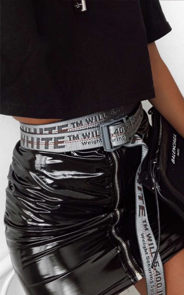 PVC HIGH WAISTED ZIP UP SKIRT by Pharaoh London