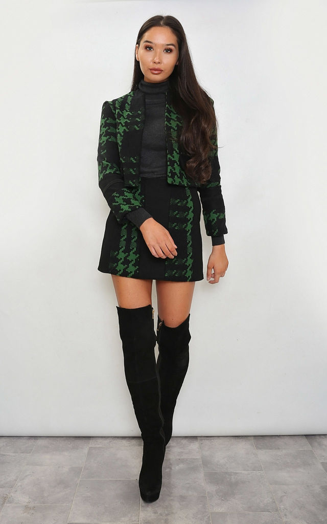 Black & Green Mixed Wool Tailored Skirt by Leigh Taylor