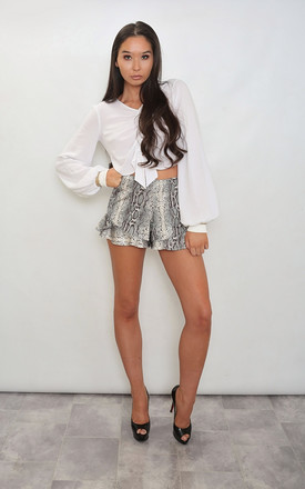Snake Print Flares Frill Shorts by Leigh Taylor