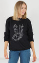 Black Oversized Sweatshirt with Dead Edgy Hun Abstract Print by Rock On Ruby
