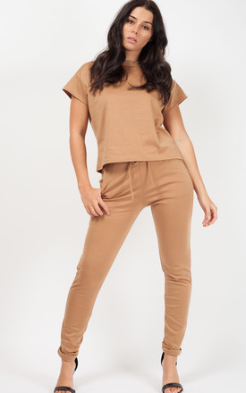 Niyah Short Sleeve Boxy Loungewear Co Ord In Mocha by Vivichi Product photo