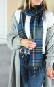 Embroidered Scarf with Initial In Blue Check by Rock On Ruby