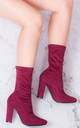 DARK HORSE Wide Calf Block Heel Ankle Boots Shoes - Red Suede Style by SpyLoveBuy