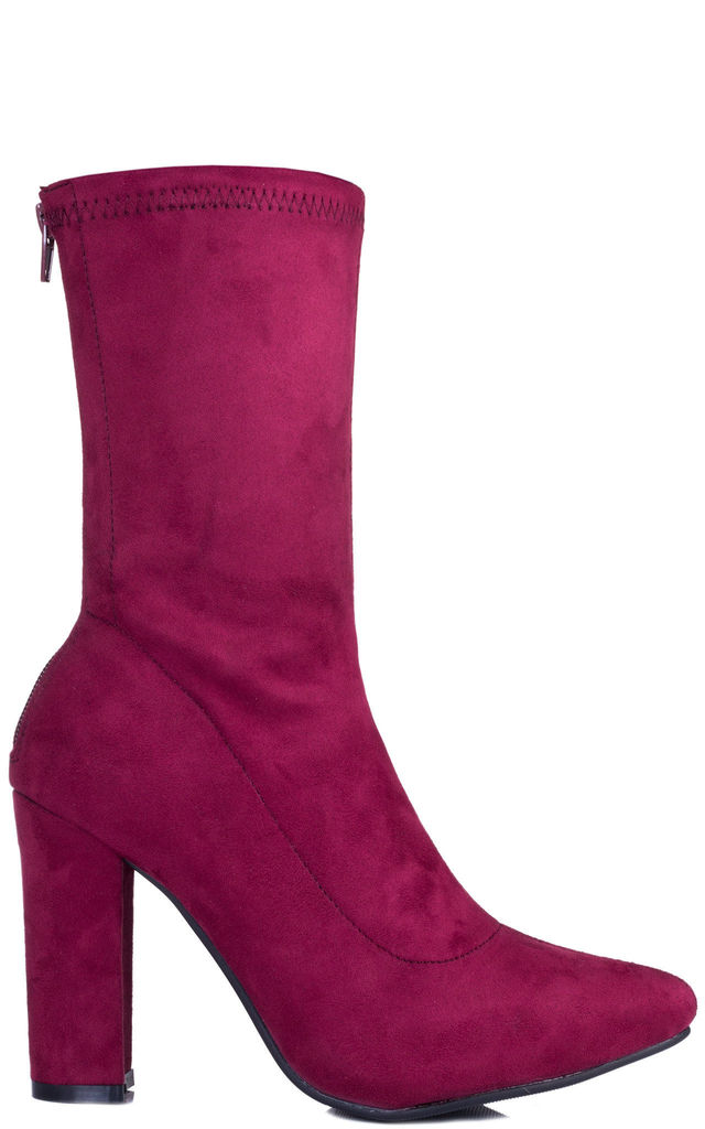 1fc66c0849ec DARK HORSE Wide Calf Block Heel Ankle Boots Shoes - Red Suede Style by  SpyLoveBuy