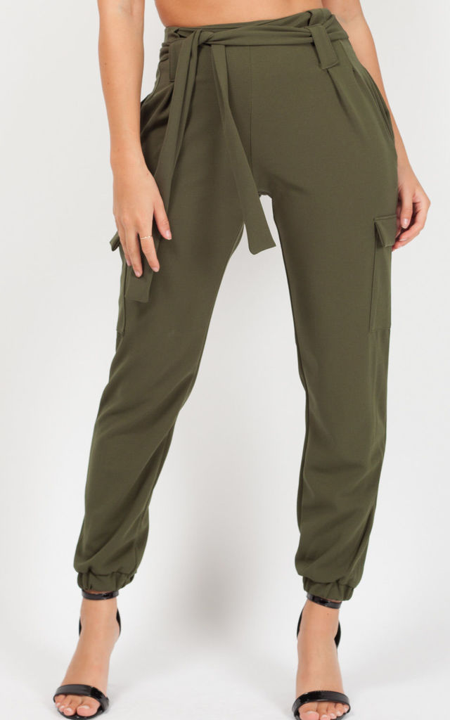 Samarah Cargo Pocket Belted Trousers In Khaki by Vivichi