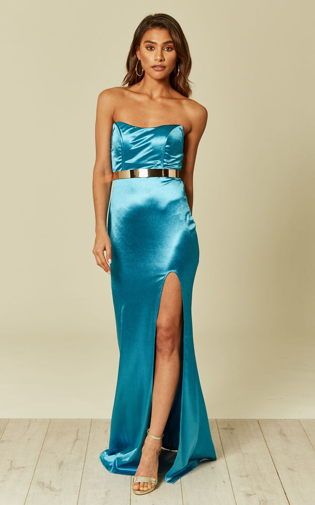 a9e43d4c42 Turquoise Blue Gold Belted Slinky Satin Thigh Slit Maxi D... | Nazz ...