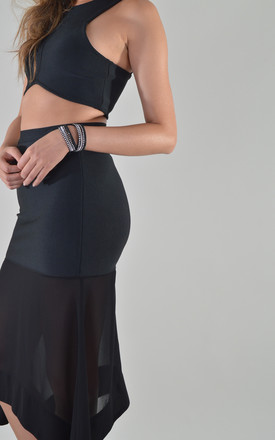 Midi Skirt With Crop Top Co-Ord Set In Black by LOVEMYSTYLE