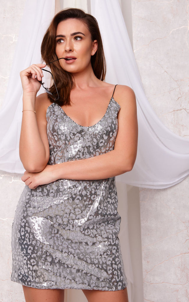 ROBBIE LEOPARD PRINT SEQUIN SLIP DRESS by Cheeky's