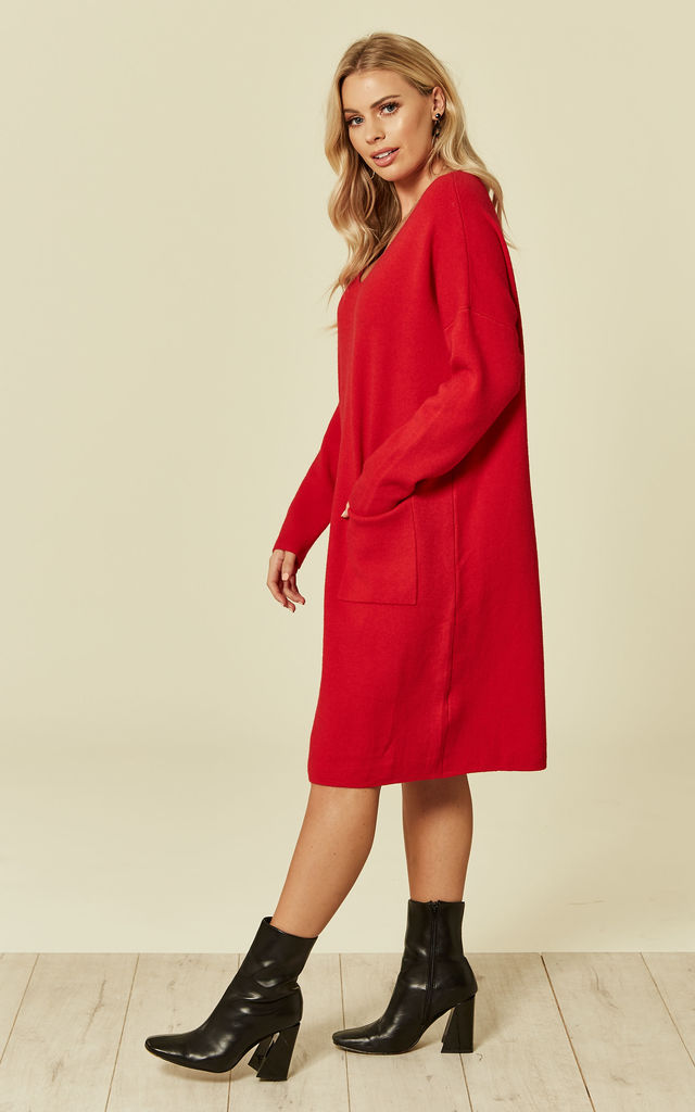 Red Knitted Dress With Pocket by DIVINE GRACE