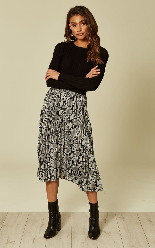 Grey Snakeskin Pleated Skirt by DIVINE GRACE