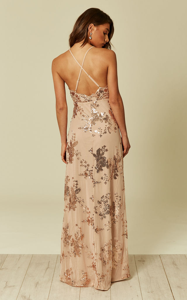 PURE DESIRE ROSE GOLD PLUNGE FLORAL SEQUIN DOUBLE THIGH SLIT MAXI DRESS by Nazz Collection