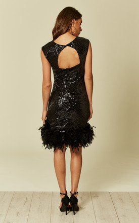 Alexa Black Sequin Dress with Feather Trim by Revie London