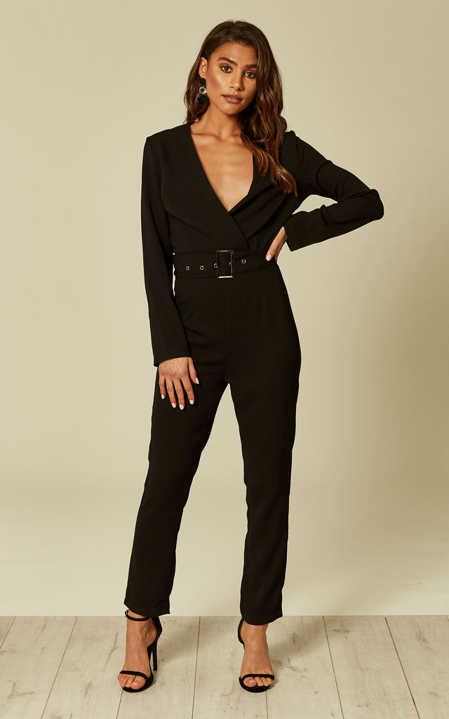 Black Wrap Front Jumpsuit With Belt by UNIQUE21