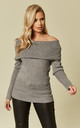 Grey Off Shoulder Jumper by Liquorish