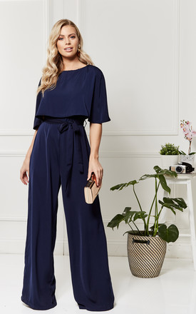 Charlotte Midnight Blue Cape Jumpsuit by Luna Product photo