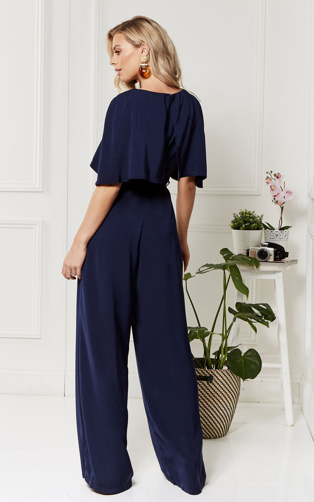 Charlotte midnight blue cape jumpsuit by Luna
