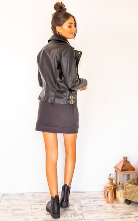 Jessica PU Biker Jacket With Gold Trims by Fearlesss