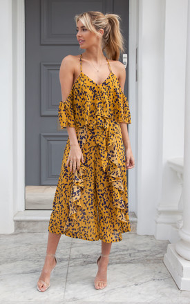Culotte Frill Cami Jumpsuit In Mustard/Navy by Styled In London
