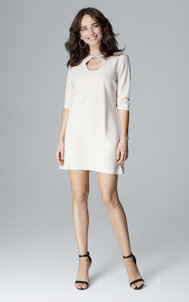 Beige Mini Trapeze Dress With Teardrop Neckline by LENITIF