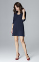 Navy Mini Trapeze Dress With Teardrop Neckline by LENITIF