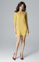 Yellow Mini Trapeze Dress With Teardrop Neckline by LENITIF
