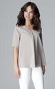 Beige Short Sleeve Blouse by LENITIF