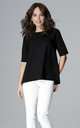 Black Short Sleeve Blouse by LENITIF