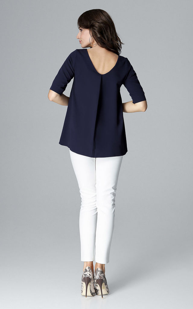 Navy Short Sleeve Blouse by LENITIF