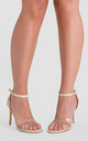 Athena Perspex Studded Barely There Heels in Nude Faux Leather by Poised London