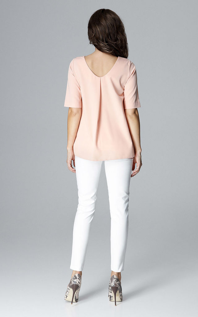 Pink Short Sleeve Blouse by LENITIF