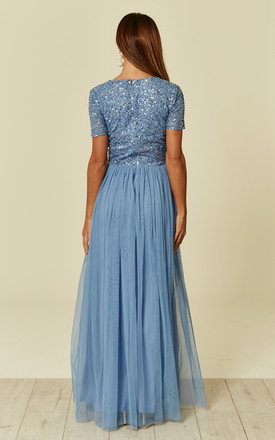 Aquatic Blue Short Sleeved Embellished Maxi Dress by ANGELEYE