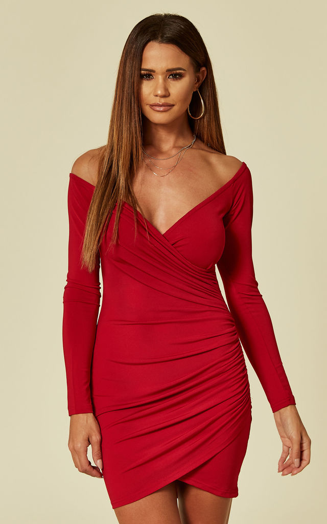e15689cd592 Red Slinky Off The Shoulder Wrap Dress | AX Paris | SilkFred
