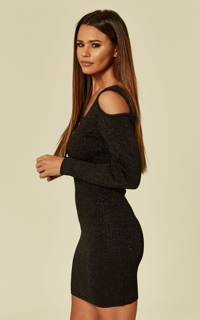 Cold Shoulder Bodycon Dress With Long Sleeves In Gold Sparkle Metallic Knit by CY Boutique
