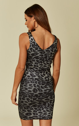 Sleeveless Bodycon Dress in Silver Leopard Print by CY Boutique