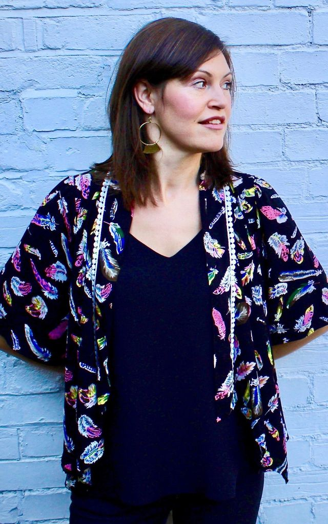 Kimono Jacket - Black Feather by Trollied Dolly