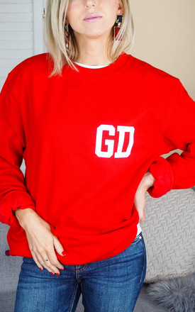 Oversized Red Sweatshirt with Personalised Initials College Style by Rock On Ruby