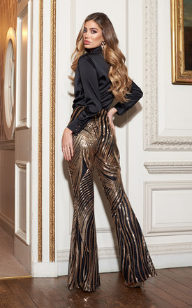 Gold Spiral Sequins Kick Flare Trousers by Club L London