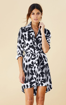 Mini Shirt Dress In Grey Leopard by Dancing Leopard Product photo