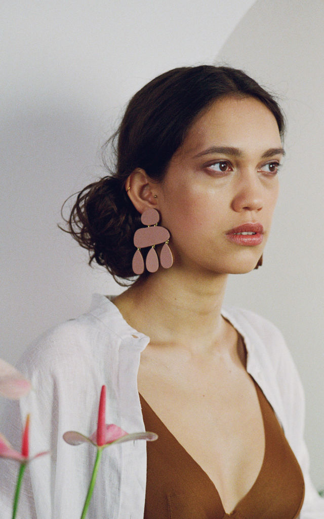 Cloud Statement Wood Earrings in Blush Pink by Wolf & Moon