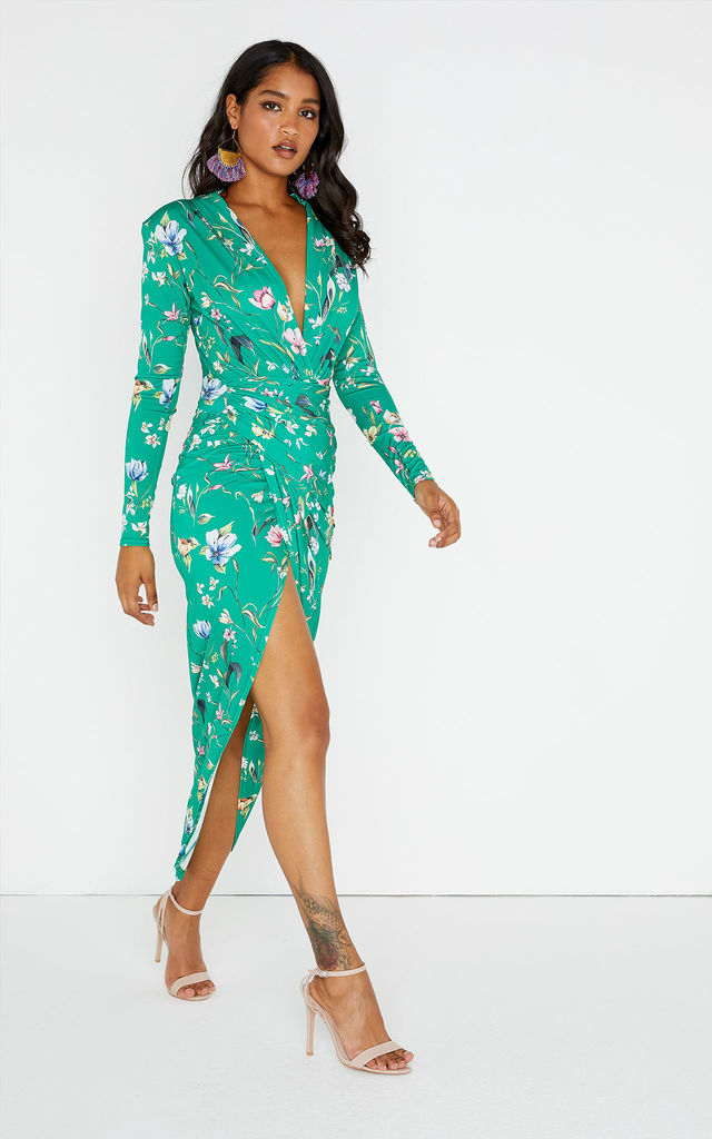 1bac11f3e30b Divine Green Floral Blossom Long Sleeve Plunge Dress by Rogue Fox
