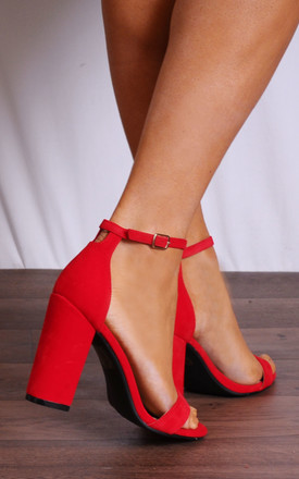 Barely There High Heel Sandals in Red Faux Suede by Shoe Closet