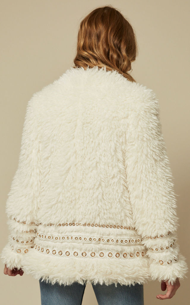 ARIANNA - IVORY FAUX SHEARLING WITH MULTI GOLD TRIM DETAIL JACKET by Goldie