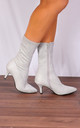 Grey Sock Stretch Kitten Heel Ankle Boots by Shoe Closet