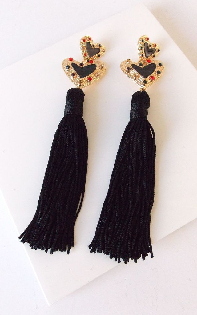 Over-Sized Black Heart and Tassel Statement Earrings by Olivia Divine Jewellery