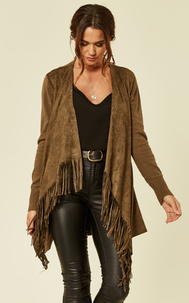 Olive Green Waterfall Cardigan With Tassels And Suede by ANGELEYE
